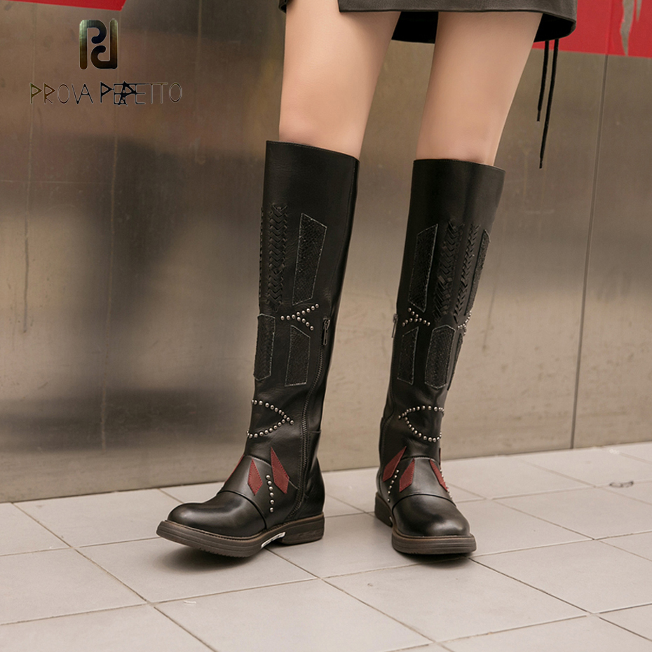 Prova Perfetto new arrival high quality handmade genuine leather mixed color women knee high boots zipper