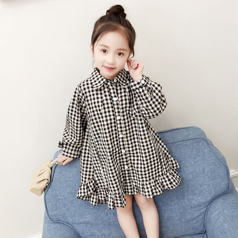 new fashion spring girls dress child ruffles dresses 3-9 years old children clothes 2018 baby plaid dress long sleeves 2018 europe the united states new spring autumn girls plaid dress long sleeved simple lace dress 2 7 years old baby girl clothes