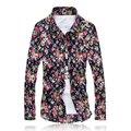 2017 Новых Мужчин Рубашки М-5XL Мода camisa masculina Повседневная Рубашка Slim Fit Camisas Бизнес Платье Цветочный Принт Homme Рубашки