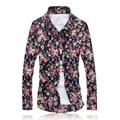 2017 New Men Shirts M-5XL Fashion camisa masculina Casual Shirt Slim Fit Camisas Business Dress Floral Print Homme Shirts