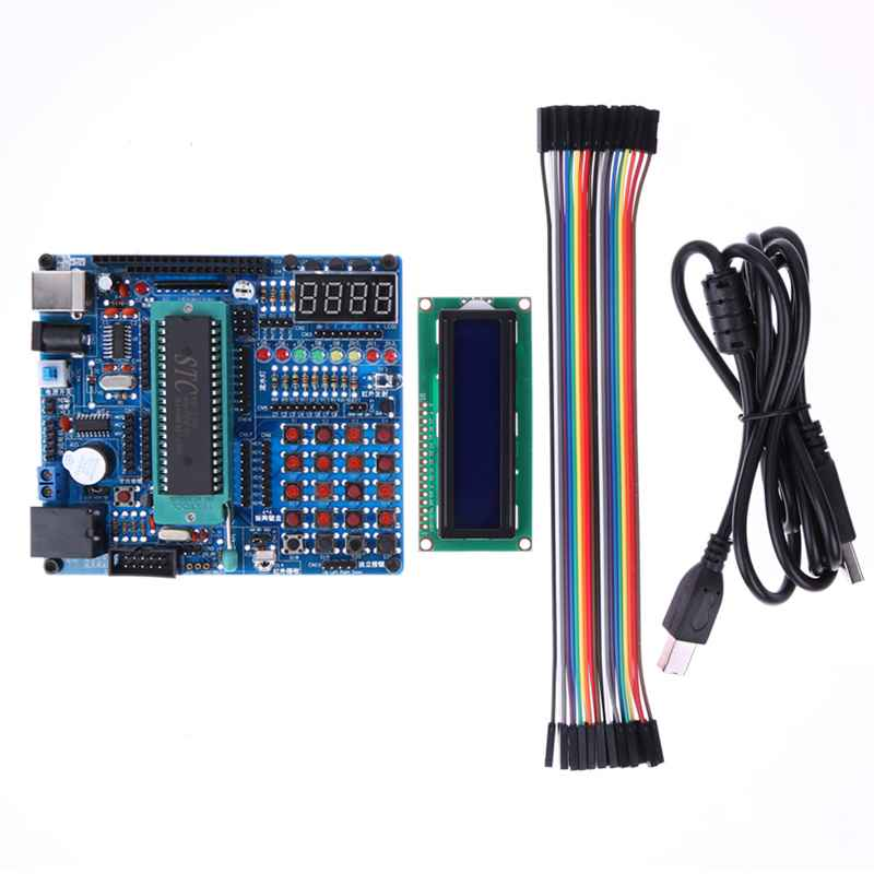 C51/AVR MCU Development Board Multifunction Test Learning Board DIY Kits 4 Digital Display Module 8-bit Color LED Light Water atmega16a chip core avr scm development board learning board test board programmer with pins