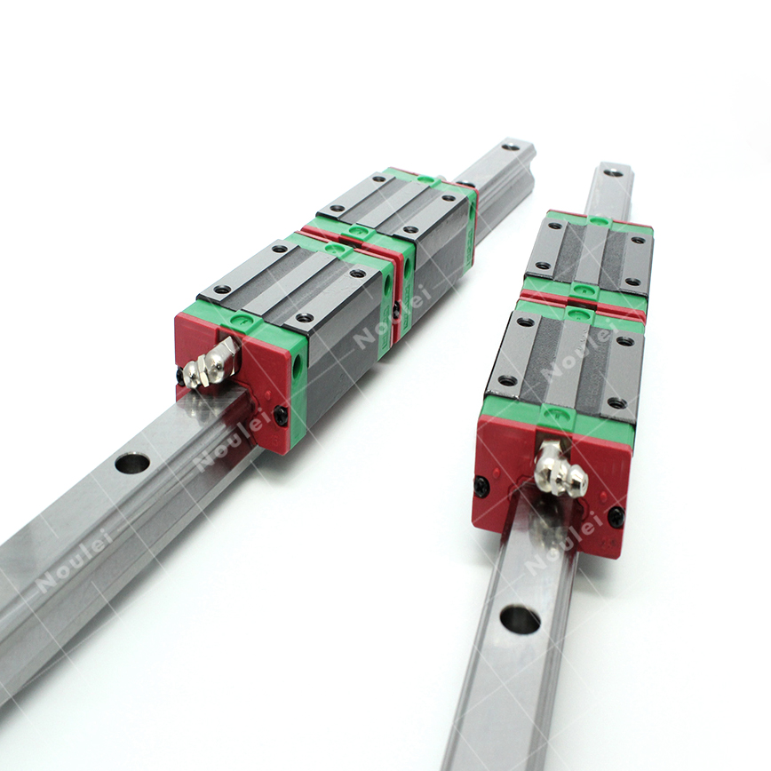 Noulei 2pcs HGR15 CNC linear guide rail 600mm 800mm 1000mm with 4pcs HGH15CA block carriage HGH15 high precision low manufacturer price 1pc trh20 length 1000mm linear guide rail linear guideway for cnc machiner
