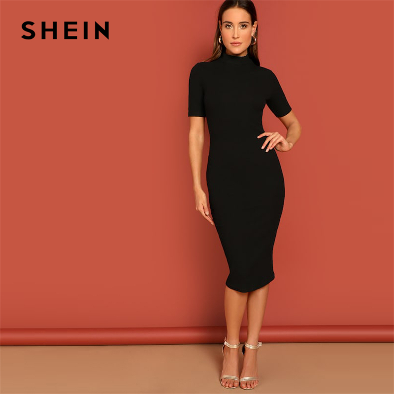 SHEIN Black Mock Neck Rib-knit Pencil Stretchy Knee Length Bodycon Dress Solid Dress Women 2019 Spring Short Sleeve Casual Dress