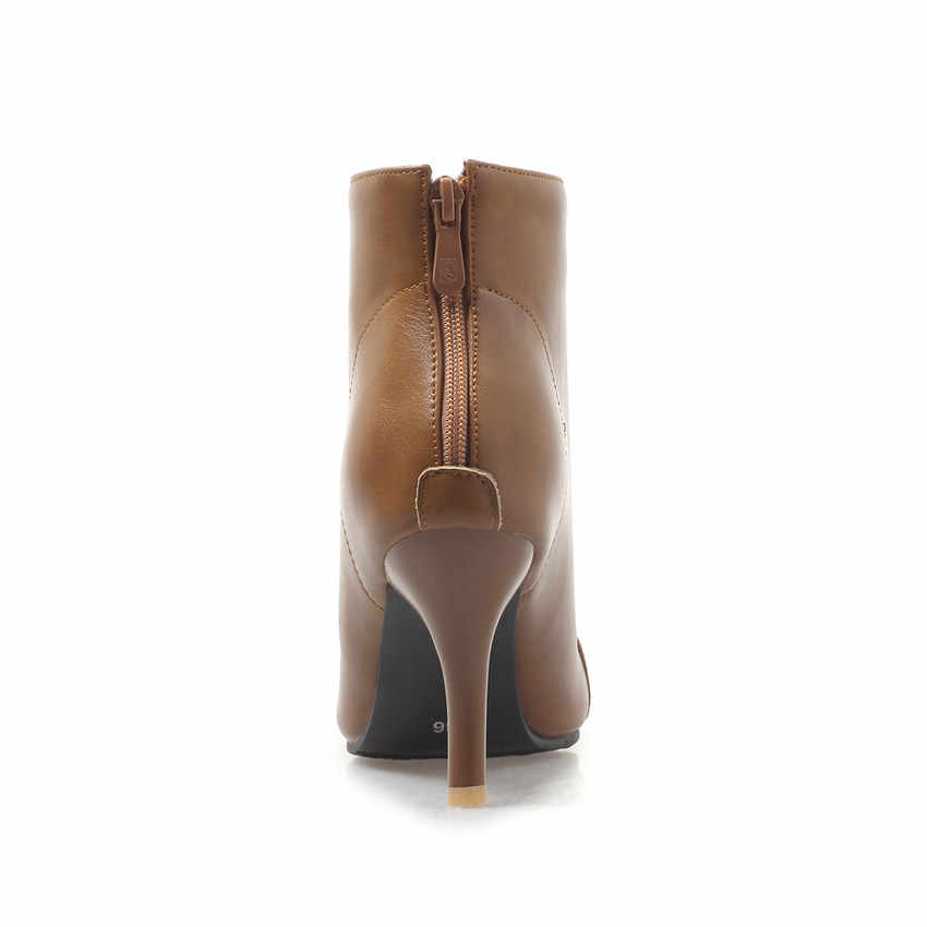 QUTAA 2019 Pu Deri Moda Kadın Ayakkabı Platformu Ince Yüksek Topuk Kadın yarım çizmeler Fermuar Kadın Motosiklet Botları Büyük Boy 34 -43