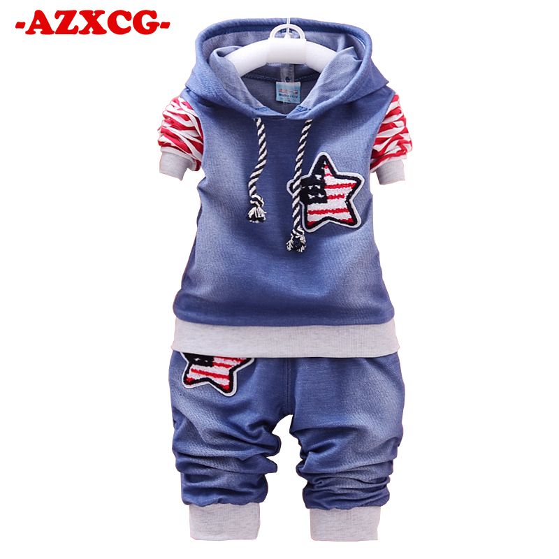 New Boys Long-sleeved Cowboy Star Printed Children's Suit Leisure Sports Suit Baby Children Spring Autumn Boy 1 2 3 4Years Suit