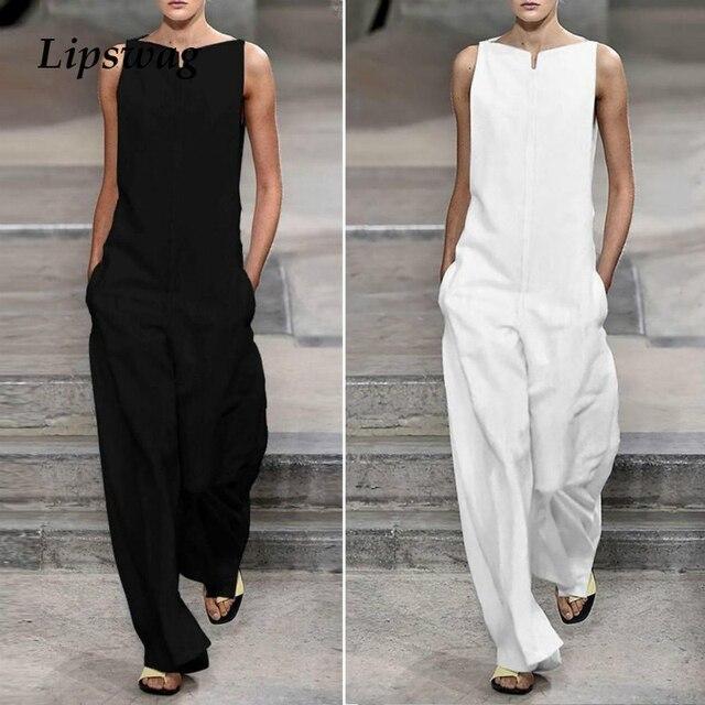 Lipswag mujeres botón ancho de la pierna de mono de verano con cuello en V de manga corta traje de lino pantalones a cuadros imprimir suelto 3XL mono