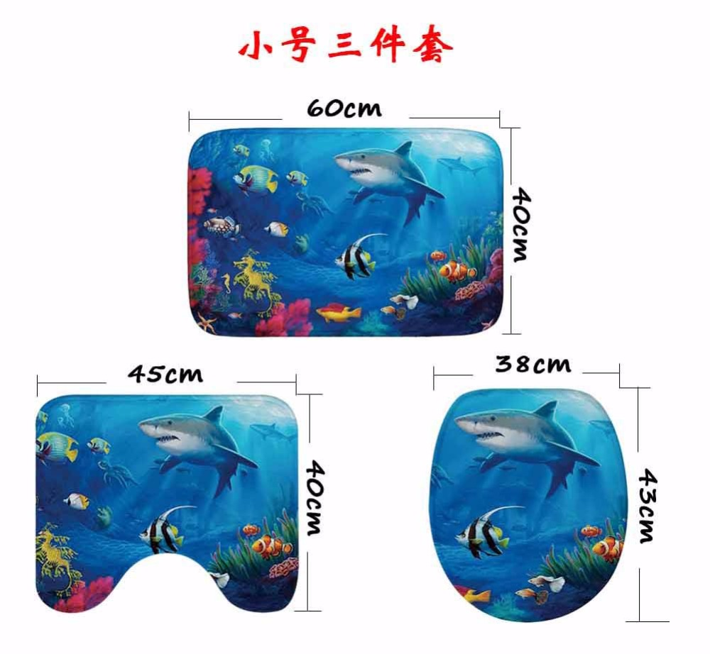 CAMMITEVER 3pcs Bathroom Bath Mat Shark Turtle Rug Household Bathroom Slip Mat Lid Toilet Covers Accessories in Rug from Home Garden
