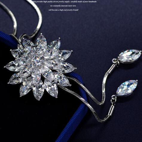 Latest Color Real white Gold Zircon Snowflake Long Sweater Chain Tassel Necklace For Women Christmas Gift