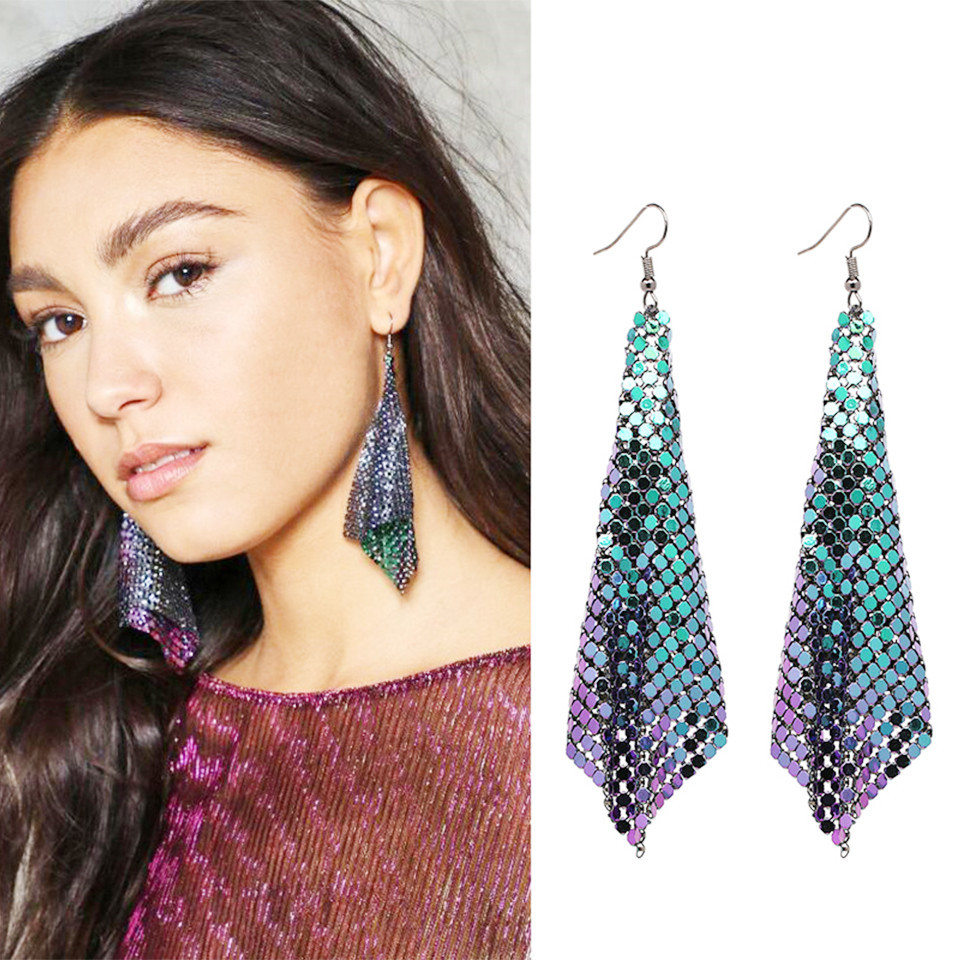 2018 Fashion za style irregular long maxi drop earrings party jewelry Chic charm statement holographic chainmail shiny earring ...