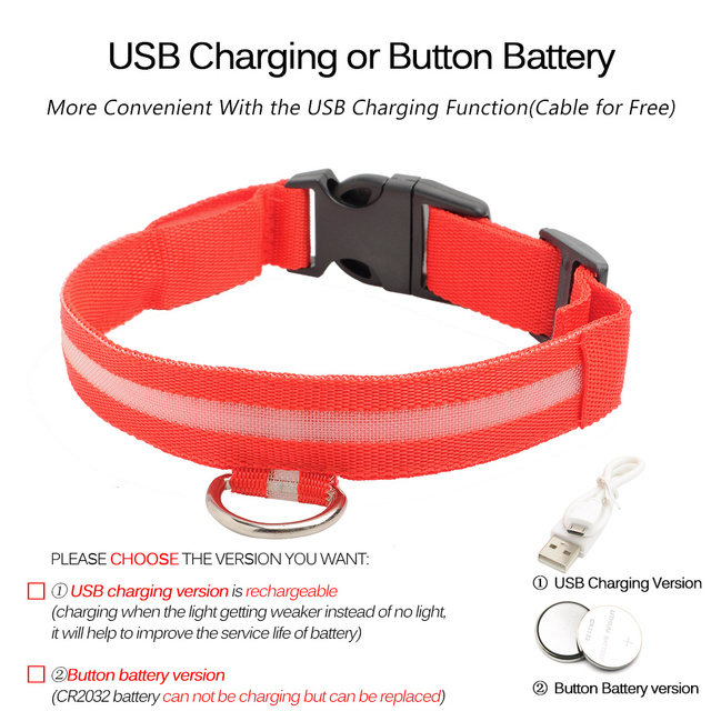 USB Charging Led Dog Collar Anti-Lost/Avoid Car Accident Collar 2