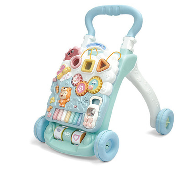 Can Rise And Fall Baby Step Hand push Walker Baby Folding Adjustable Height Walking Assistant Musical Instrument For 6-18M BB musical 2 in 1 lion baby walker and can use as seat