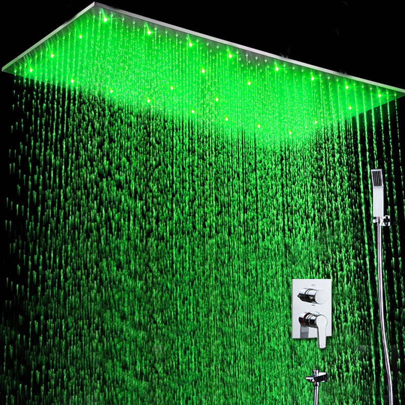 Wall Mounted Shower Set Ceiling LED Rain Shower Heads Hot And Cold ...