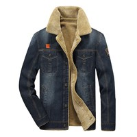 Winter Retro Denim Jacket Men Fur Collar Thicken Outwear Jacket Denim Coat Brand Clothing Men S