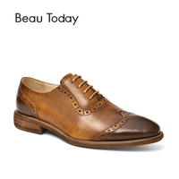BeauToday Oxfords Women Retro Brogue Style Genuine Leather Soft Calfskin Wingtip Shoes Lace Up Brand Flats