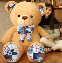 WYZHY Cloth Fang plush toy bear retro print Teddy hug doll big pillow to send girlfriend children gift