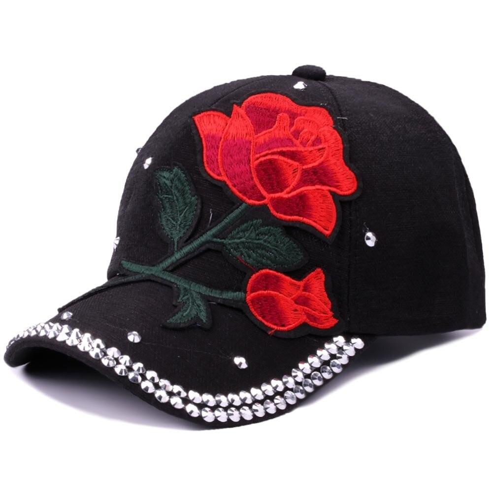 100% Wahr Frauen Mode Baseball Kappe Blume Stickerei Baseball Kappe Strass Größe Einstellbare Hysterese Hut Solide Farbe Baseball Kappe Neue
