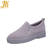 J&K 2017 New Women's Vulcanize Shoes Cow Suede Flat Thick Sole Casual School Women Shoes Slip on Platform Pregnant Woman Shoes