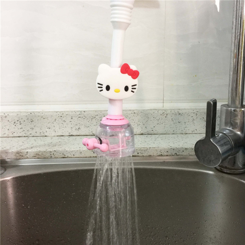 cartoon hello kitty adjustable faucet adapter sprayers water saving faucet sh. Black Bedroom Furniture Sets. Home Design Ideas