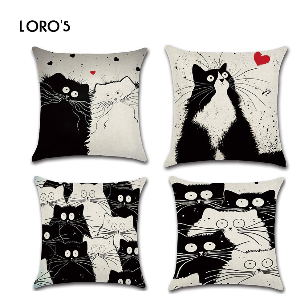 猫枕カバーコットンリネンブラックホワイト漫画猫スクエアクッションケースカバーチェア寝室ホームオフィス装飾枕カバー