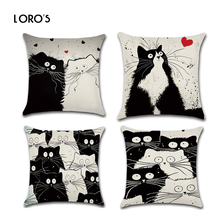 Cat Pillowcase Cotton Linen Black White Cartoon Cats Square Cushion Cases Cover Chair Bedroom Home Office Decorative Pillowcases