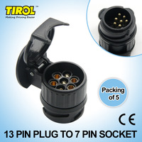 Tirol 13 To 7 Pin Trailer Adapter Black Plastic Trailer Wiring Connector 12V Towbar Towing Plug