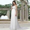 Noble de Novia de Playa de La Gasa y Satén Ata Para Arriba Plisado Vestidos de Novia para Embarazadas vestidos de Novia Vaina Palabra de longitud