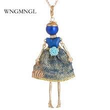 WNGMNGL 2018 Fashion Female Choker Necklace Charm Embroidery Dress Handbag Cute Doll Pendant For Women Jewelry Gift