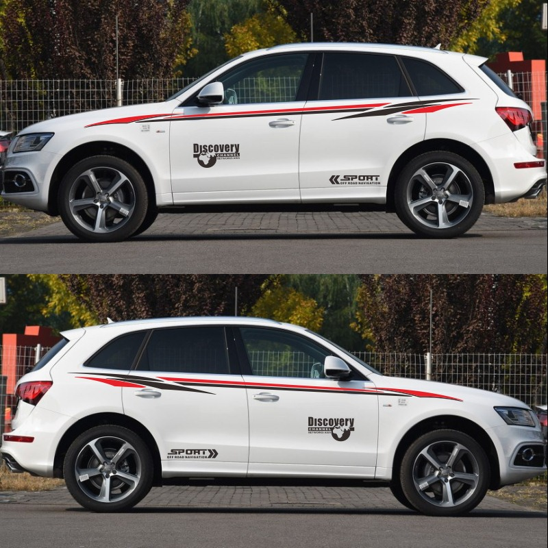 World Datong sport car sticker For Audi Q3 Q5 Q7 Discovery Sport Sticker Car Styling Body Side Door Tail Decorative Vinyl Decal in Car Stickers from Automobiles Motorcycles