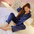 Verão Outono Para As Mulheres Sólidos Conjuntos de Pijama Pijama de Cetim de Seda Macia shelk combinação de Calças senhoras Sleepwear pijama Terno Sono