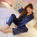 Verano Otoño Para Las Mujeres Sólido Suave Satén De Seda Pijamas Pijama shelk combinación de Pantalones damas ropa de Dormir pijamas Traje de Dormir