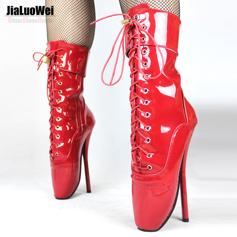 ФОТО JIALUOWEI BALLET Patent Leather Boots Extreme High 7
