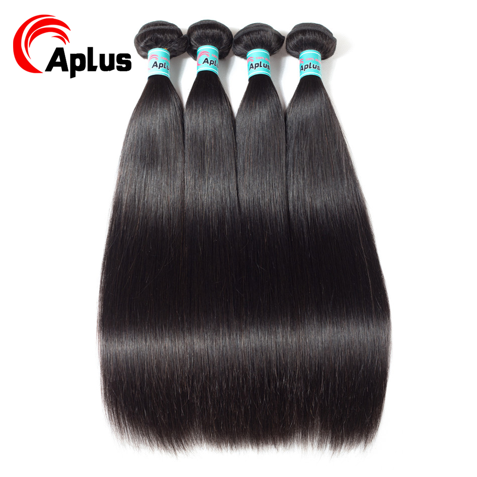 Aplus Hair Extensions Malaysian Straight Hair 4 Bundles/lot  Non-Remy 100% Human Hair Extensions Bundles Deal Hair Fast Shipping
