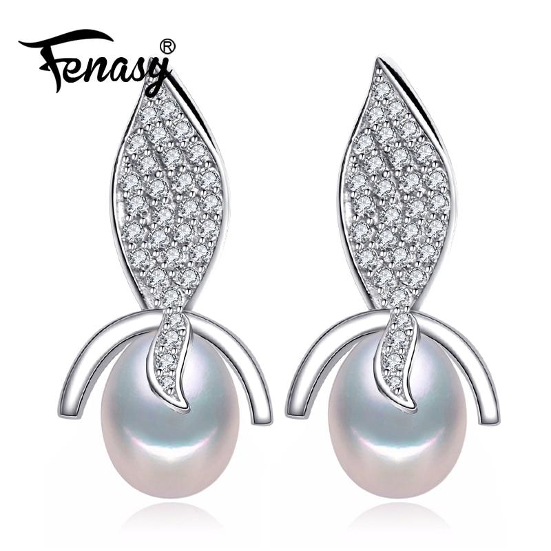FENASY trendy plant Pearl earrings,Pearl beads with 925 Sterling Silver earrings,Women Accessories bohemian earrings for love