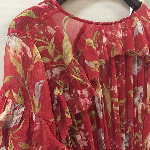 100% Silk Woman Dress 18 Spring Summer Red Floral Print Ruffle Long Sleeve Deep V Neck Sexy Slim Midi Dresses For Party 9