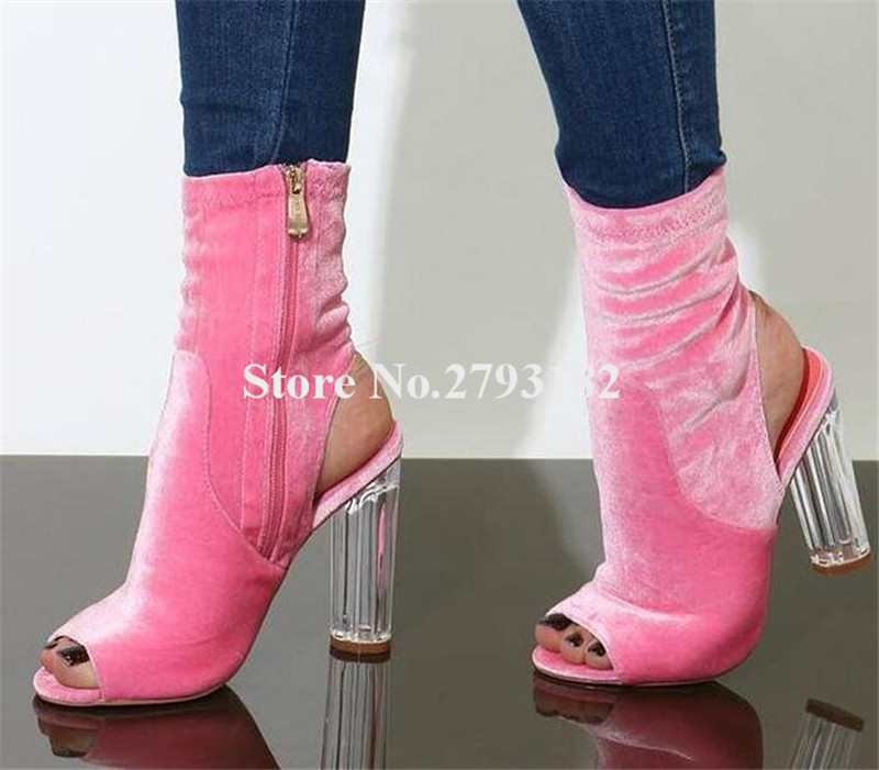 Ladies Beautiful Pep Toe Pink Velvet Transparent Chunky Heel Short Boots Cut-out Zipper-up Thick High Heel Ankle Booties pink cut out