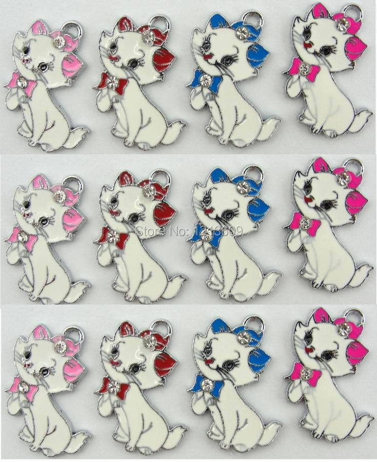 Lovely 300 pcs zinc alloy metal enamel Marie Cat charms metal enamel pendant Jewelry Making DIY