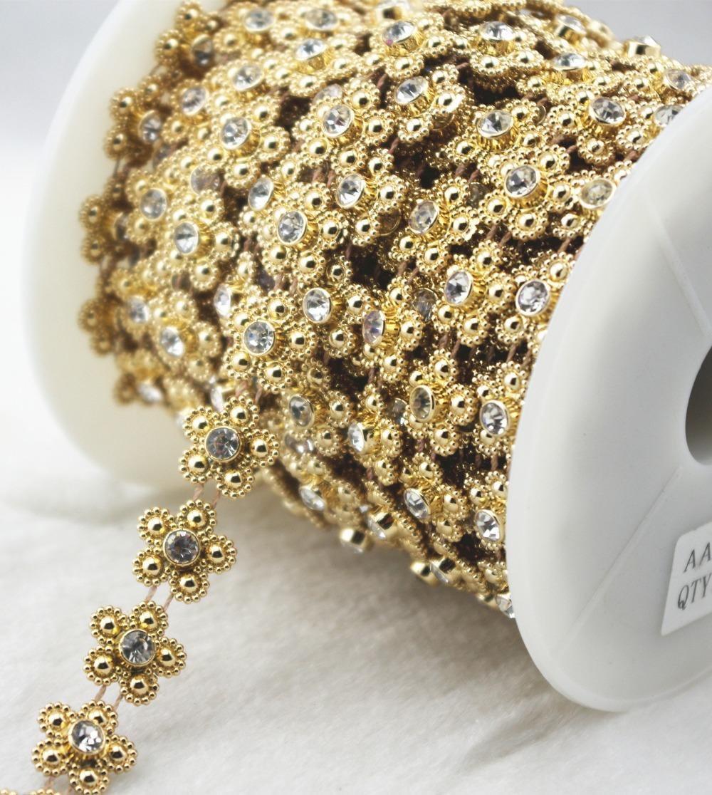 14mm Gold Pearl Flower Chain Trims Sewing Costume Applique Cake Decoration  LZ159 NEW-in Rhinestones from Home   Garden on Aliexpress.com  6c0e9d553e5f