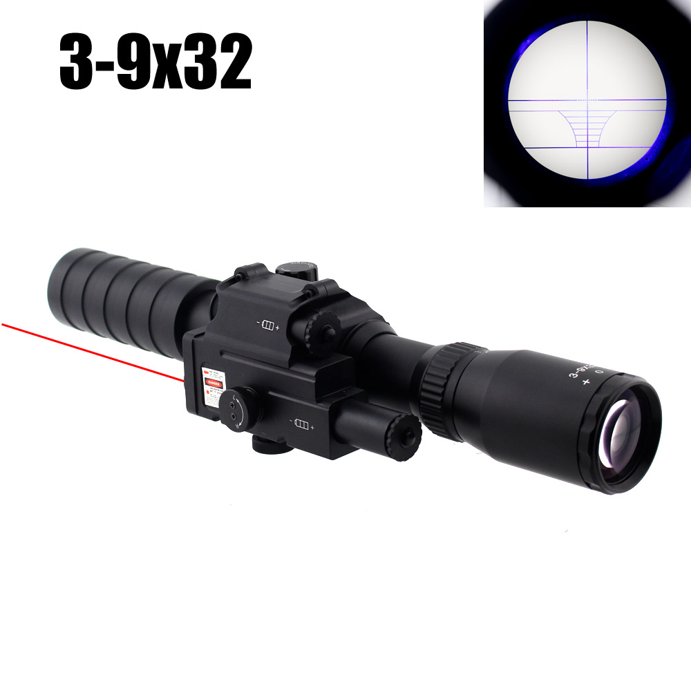 Tactical 3-9x32 Riflescope Blue Illuminated Rangefinder Reticle Hunting Scope with Red Laser tactical 3 9x32 riflescope blue illuminated rangefinder reticle hunting scope with red laser