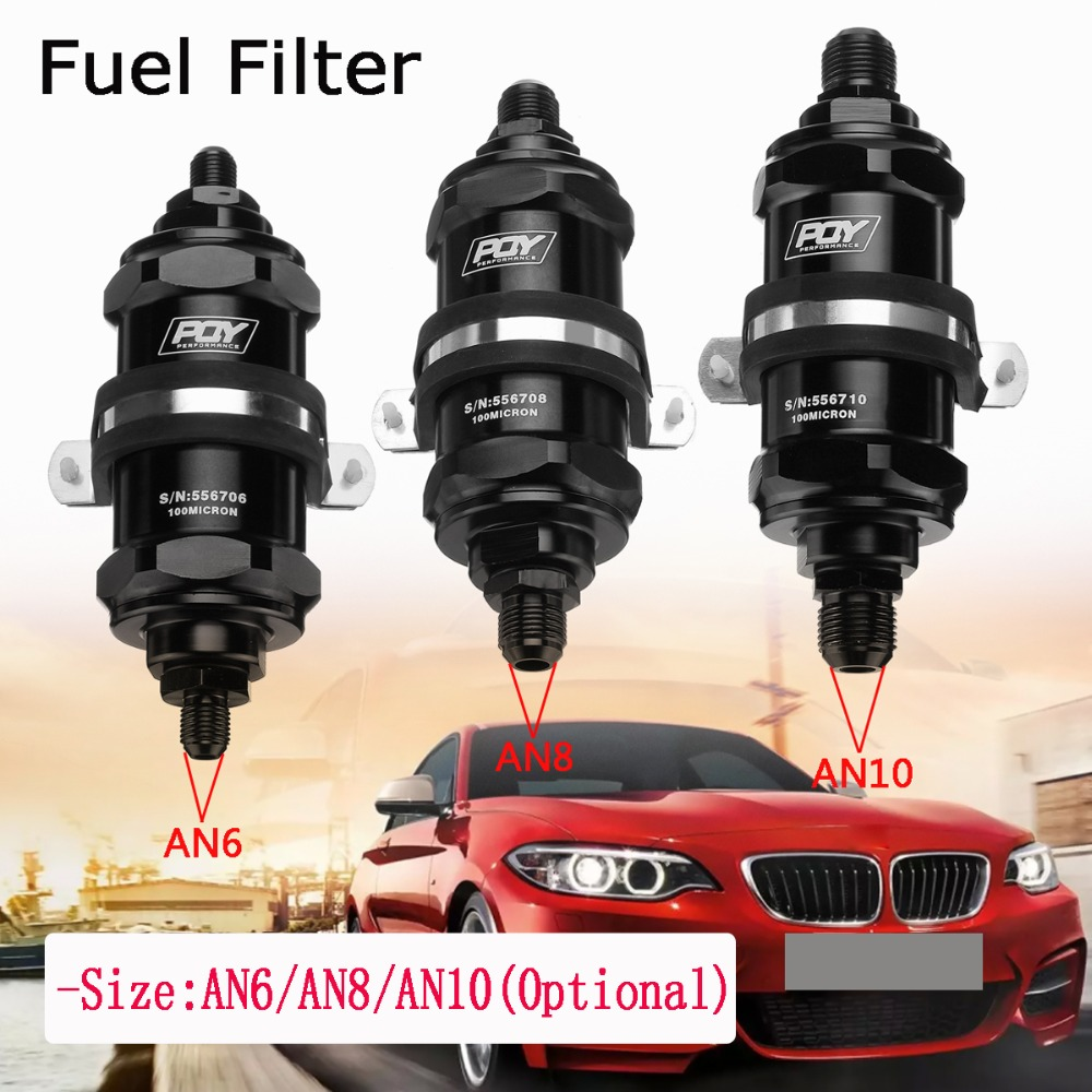 Hot Sale Universal An 6 8 10 Inline Fuel Filter E85 Ethanol Vehicle With 100 Micron Stainless Steel Element Inlet Outlet Car Racing Pqy