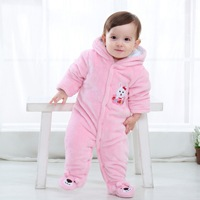 Winter Thick Warm Baby Rompers Cartoon Hooded Baby Boy Clothing Long Sleeve Jumpsuit Kids Newborn Baby