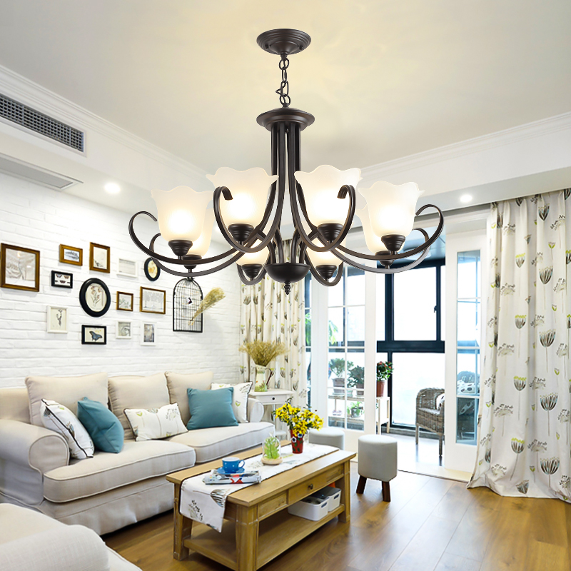 Chandeliers Lights LED Lamps E27 Bulbs Iron Ceiling Fixtures Glass Cover American European Style For Living Room Bedroom CDL04