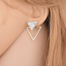 1 Pair Hot Marble Pattern Round Ear Stud Bohemian Party Geometry Women Ear Clip Square Earrings Boho Fahsion Jewelry