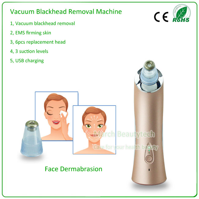 Home Beauty Skin Peeling Face Lifting Nose Blackheads Remove Acne Treatment Vacuum EMS Diamond Microdermabrasion Device silver 2016 new technology diamond microdermabrasion machine v line face remove scars acne marks skin beauty machine