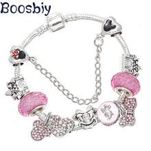 Boosbiy Лидер продаж посеребренные браслеты с розовыми бусины Минни DIY брендовый браслет и браслет ювелирные изделия подарок для женщин и детей