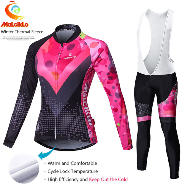 Malciklo Pro Fabric Winter Fleece Cycling Suit Jersey Women's Long Sleeve Bicycle Cycling Clothing Bike Wear Maillot Ropa Set