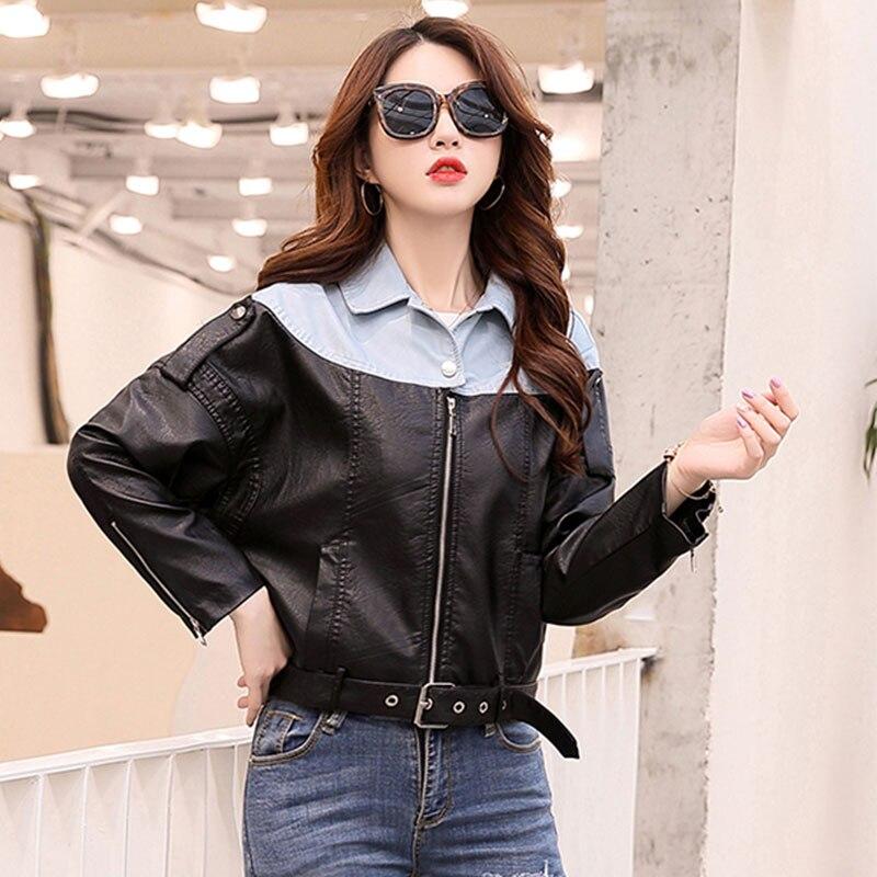 Taille En Femmes 381 Mode Deri black Cuir Printemps Lavé Automne 2019 La Plus De Faux Vestes Ceket Beige Manteau Veste Survêtement 7BpwxI