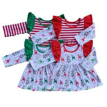 Kids Christmas Costume Ruffled Infant tops Baby girls T-shirt School Style Girls Clothes kids flutter long sleeve t shirts(China)