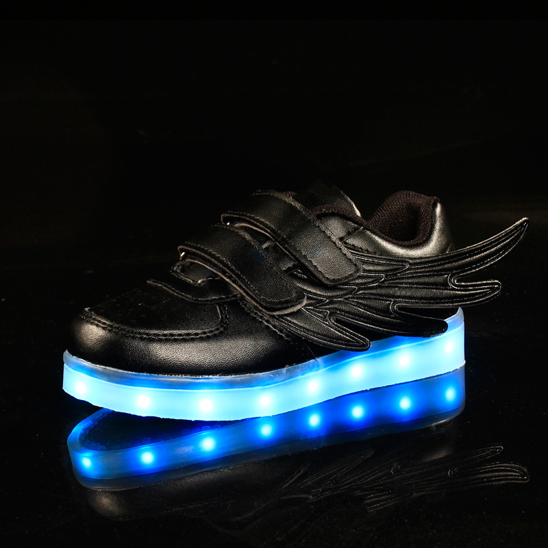 Sport Wing PU Glowing Sneakers LED Light Shoes Kids Boys Girls Toddler/Little Kids/Big Kids Flashing Board Rechargeable Color