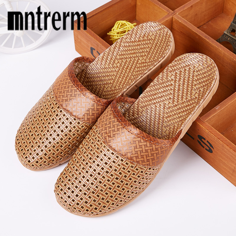 Mntrerm Summer Natural Bamboo Rattan Cane Grass Weaving Slippers Shoes Vine Grass Men Casual Slippers Non-slip Couples Slippers