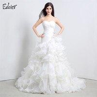 Vestido De Noiva White Mermaid Wedding Dresses 2017 Sweetheart Sweep Train Floor Length Pleat Ruffles Bride
